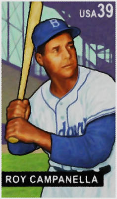 Slugger Painting - Roy Campanella by Lanjee Chee