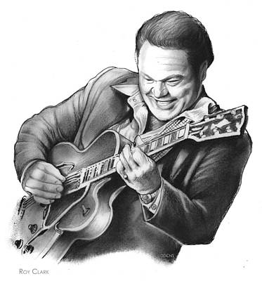 Musicians Drawings Rights Managed Images - Roy Clark Royalty-Free Image by Greg Joens