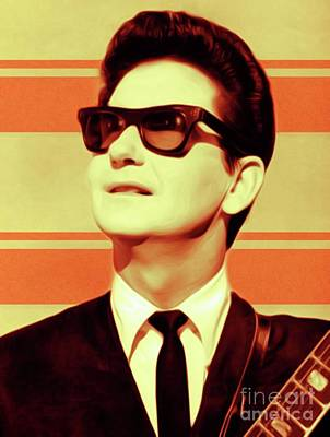 Music Royalty-Free and Rights-Managed Images - Roy Orbison, Music Legend by Mary Bassett
