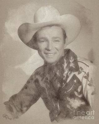 Musicians Drawings - Roy Rogers, Western Star and Singer by John Springfield