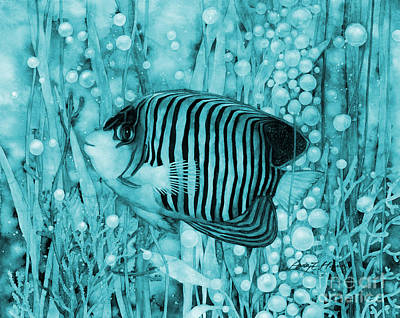 Rainy Day - Royal Angelfish on Blue by Hailey E Herrera