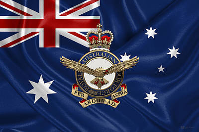 Digital Art - Royal Australian Air Force -  R A A F  Badge Over Australian Flag by Serge Averbukh