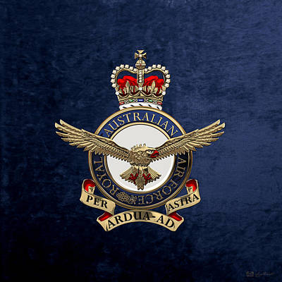 Digital Art - Royal Australian Air Force -  R A A F  Badge Over Blue Velvet by Serge Averbukh