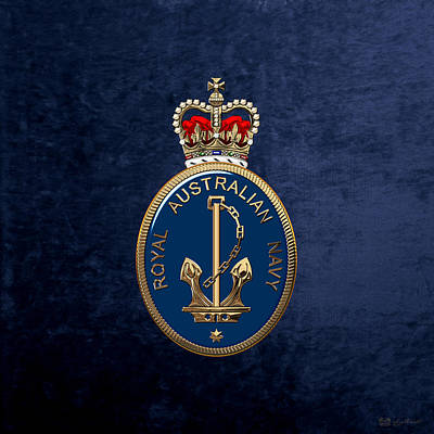 Digital Art - Royal Australian Navy -  R A N  Badge Over Blue Velvet by Serge Averbukh