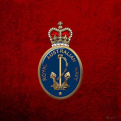 Digital Art - Royal Australian Navy -  R A N  Badge Over Red Velvet by Serge Averbukh