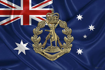 Digital Art - Royal Australian Regiment   -  R A R  Badge Over Australian Flag by Serge Averbukh