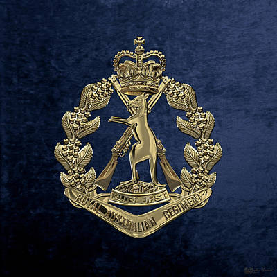 Digital Art - Royal Australian Regiment   -  R A R  Badge Over Blue Velvet by Serge Averbukh