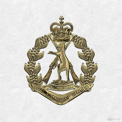 Digital Art - Royal Australian Regiment   -  R A R  Badge Over White Leather by Serge Averbukh