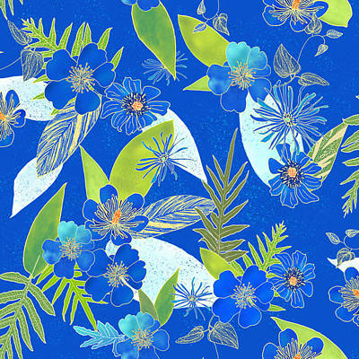 Digital Art - Royal Blue Aloha Tile 2 by Karen Dyson