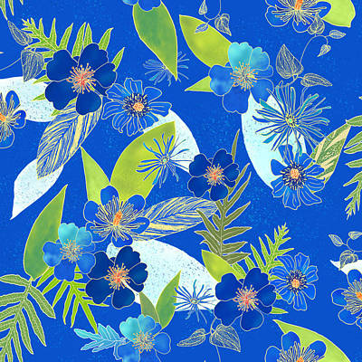 Digital Art - Royal Blue Aloha Tile 3 by Karen Dyson