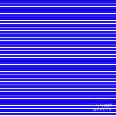 Digital Art - Royal Blue And White Horizontal Stripes by Leah McPhail