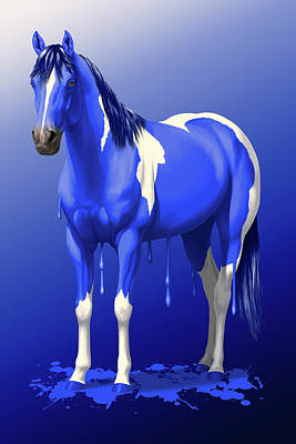 Pinto Painting - Royal Blue Wet Paint Horse by Crista Forest