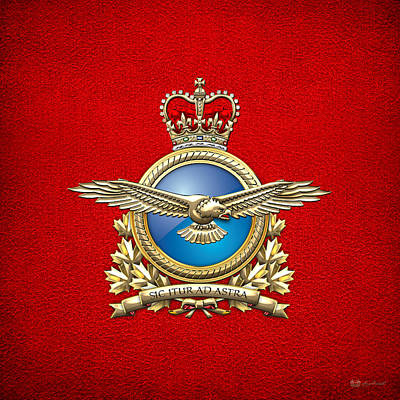 Digital Art - Royal Canadian Air Force Badge On Red Leather by Serge Averbukh