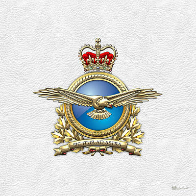 Digital Art - Royal Canadian Air Force Badge On White Leather by Serge Averbukh