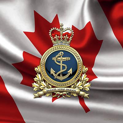 Canadian Heritage Digital Art - Royal Canadian Navy  -  R C N  Badge Over Canadian Flag by Serge Averbukh