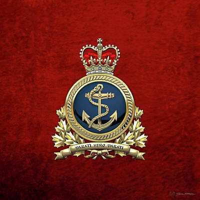 Digital Art - Royal Canadian Navy  -  R C N  Badge Over Red Velvet by Serge Averbukh