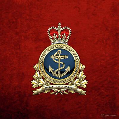 Canadian Heritage Digital Art - Royal Canadian Navy  -  R C N  Badge Over Red Velvet by Serge Averbukh