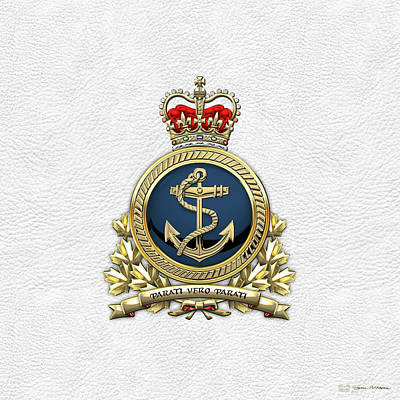Digital Art - Royal Canadian Navy  -  R C N  Badge Over White Leather by Serge Averbukh