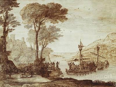 Aeneas Painting - Royal-claude-lorrain-aeneas-landing-at-pallanteum by MotionAge Designs