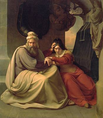 Royal Couple Mourning For Their Dead Daughter Art Print by Carl Friedrich Lessing