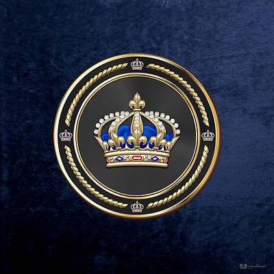 Digital Art - Royal Crown Of France Over Blue Velvet by Serge Averbukh