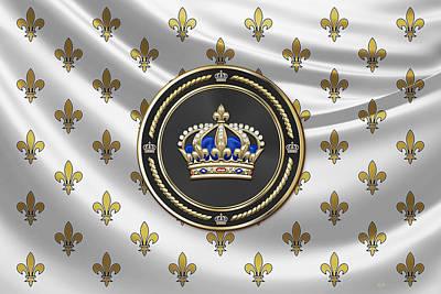 Royal Crown Of France Over Royal Standard  Original by Serge Averbukh