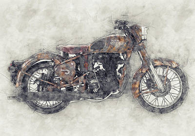 Mixed Media Royalty Free Images - Royal Enfield Bullet 1 - Royal Enfield - Motorcycle Poster - Automotive Art Royalty-Free Image by Studio Grafiikka