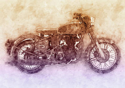 Mixed Media Royalty Free Images - Royal Enfield Bullet 2 - Royal Enfield - Motorcycle Poster - Automotive Art Royalty-Free Image by Studio Grafiikka