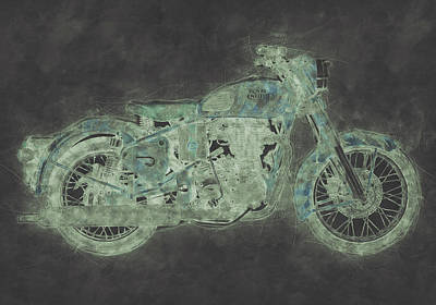 Mixed Media Royalty Free Images - Royal Enfield Bullet 3 - Royal Enfield - Motorcycle Poster - Automotive Art Royalty-Free Image by Studio Grafiikka