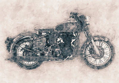 Mixed Media Rights Managed Images - Royal Enfield Bullet - Royal Enfield - Motorcycle Poster - Automotive Art Royalty-Free Image by Studio Grafiikka