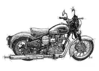Drawing - Royal Enfield C5 Classic Original Artwotk, Man Cave Decoration Gift For Men by Pablo Franchi