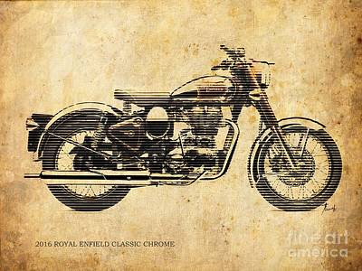 Royal Enfield Classic Chrome 2016, Poster For Men Cave Art Print