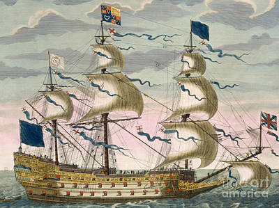 Water Vessels Drawing - Royal Flagship Of The English Fleet by Pierre Mortier