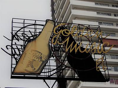 Photograph - Royal Guard Cerveza And Golden Music Sign by Cheryl Hoyle