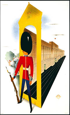 London Tube Mixed Media - Royal Guard - The Queen's Guard - London Underground, London Metro - Retro Travel Poster by Studio Grafiikka
