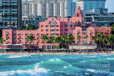 Royal Hawaiian Hotel Surfs Up Art Print by Aloha Art