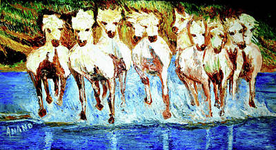 Painting - Royal Horses by Anand Swaroop Manchiraju