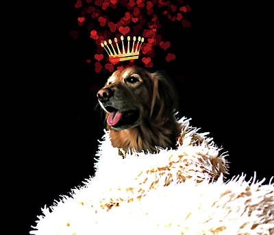 Puppy Love Painting - Royal Love Pup, Golden Retriever, Crown Of Hearts by Tina Lavoie