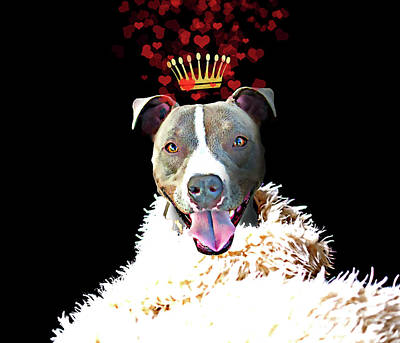 Love My Dog Painting - Royal Love Pup, Pit Bull Terrier, Crown Of Hearts by Tina Lavoie