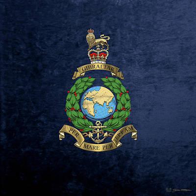 Digital Art - Royal Marines -  R M  Badge Over Blue Velvet by Serge Averbukh