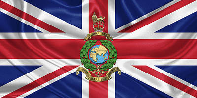 Digital Art - Royal Marines -  R M  Badge Over British Flag by Serge Averbukh