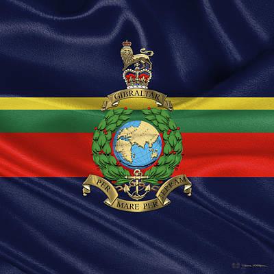 Digital Art - Royal Marines -  R M  Badge Over Flag by Serge Averbukh