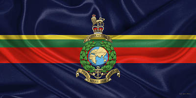 Digital Art - Royal Marines -  R M  Badge Over Royal Marine Flag by Serge Averbukh