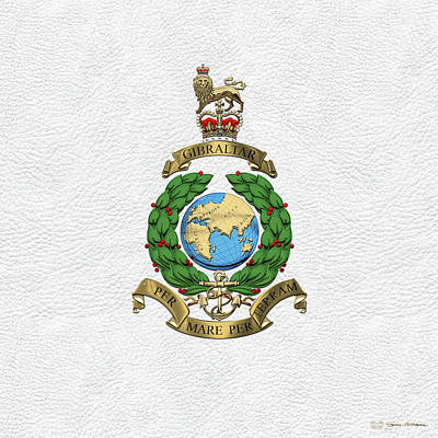 Digital Art - Royal Marines -  R M  Badge Over White Leather by Serge Averbukh