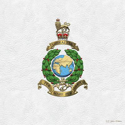 Digital Art - Royal Marines -  R M  Badge Over White Leather by Serge Averbukh