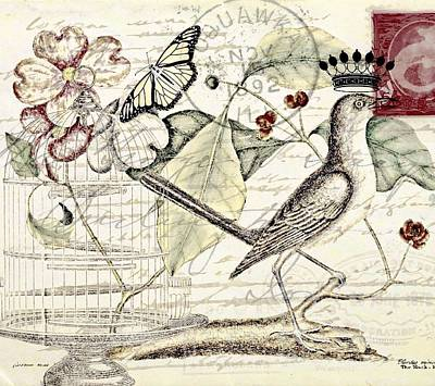 Mockingbird Mixed Media - Royal Mockingbird by Elizabeth Mix
