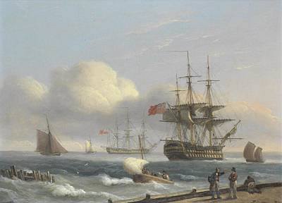 Stiff Painting - Royal Naval Warships by Thomas Luny