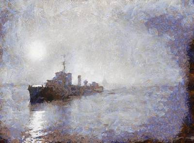 Royal Navy Painting - Royal Navy Ship Wwii by Esoterica Art Agency