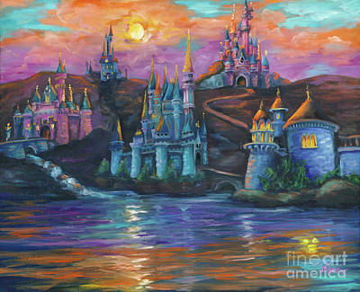 Cinderella Castle Painting - Royal Neighbors by Marnie Bourque