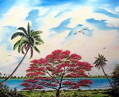 Beach Landscape Mixed Media - Royal Poinciana Tree 2 by Riley Geddings